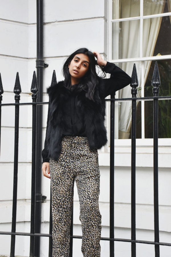 Fashion blogger Shloka Narang of The Silk Sneaker shows how to wear the pyjama trend in Topshop pants and Monisha Jaising gilet