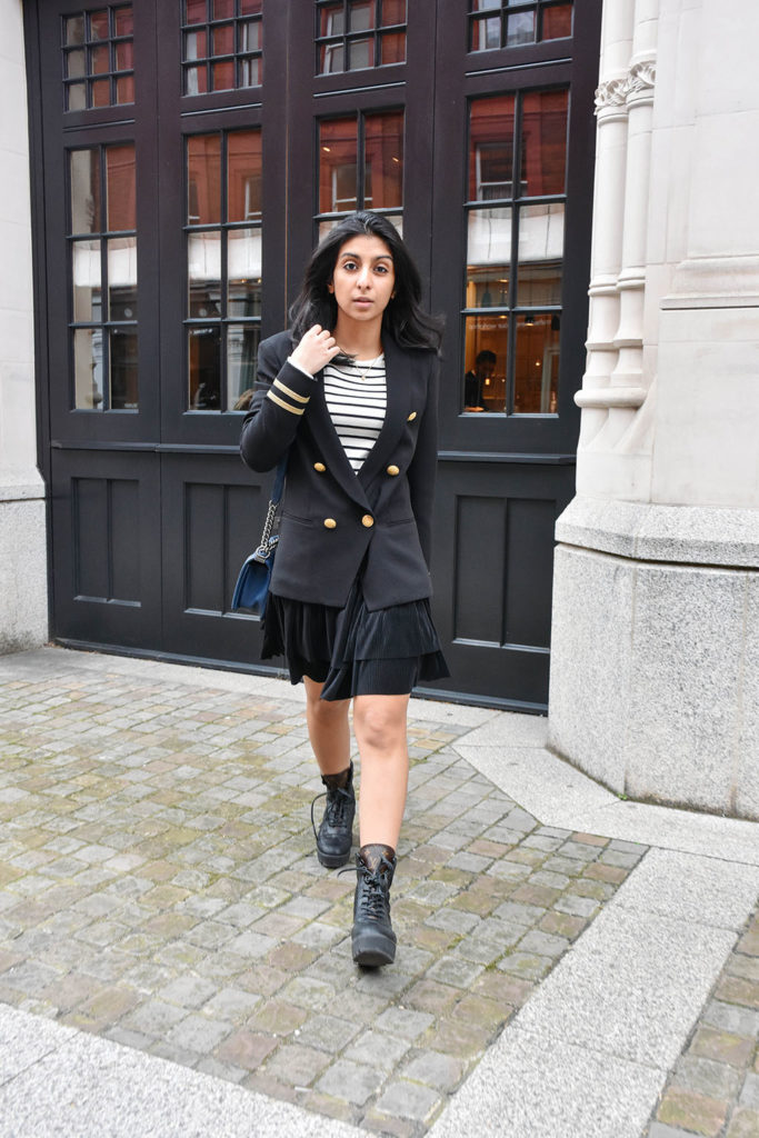 Fashion blogger Shloka Narang of The Silk Sneaker showcases how to wear the military jacket trend this spring featuring Claudie Pierlot and & Other Stories