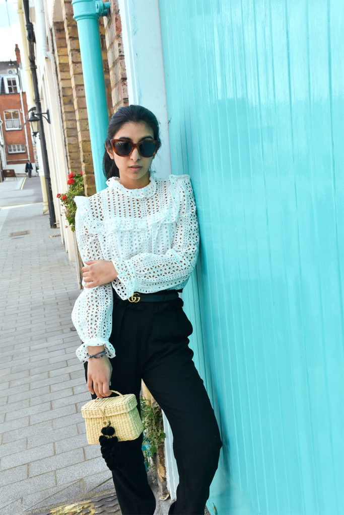 Fashion blogger Shloka Narang of The Silk Sneaker showcases how wear a lace top for a spring outfit idea