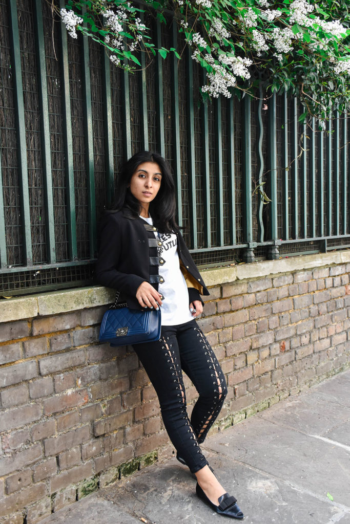 Fashion blogger Shloka Narang shares how to style lace up jeans featuring Topshop Jeans and t-shirt