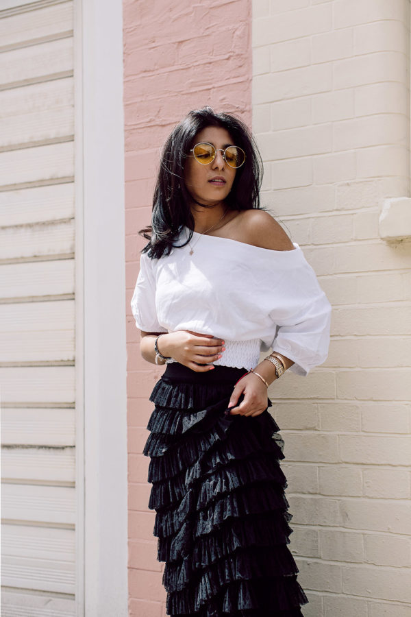 Fashion blogger Shloka Narang of The Silk Sneaker showcases how to wear three summer trends with one look