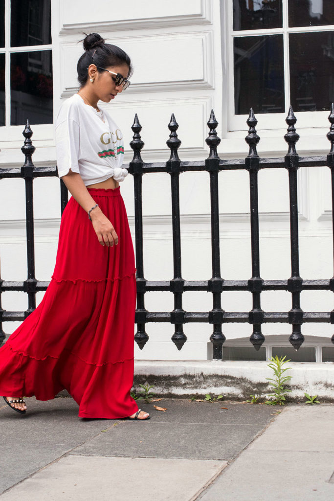 Fashion blogger Shloka Narang of The Silk Sneaker shares how to wear a maxi skirt in the city