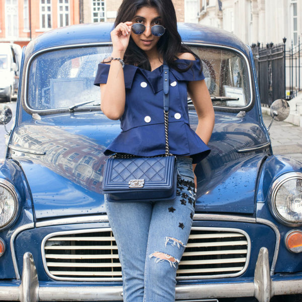 Fashion blogger Shloka Narang of The Silk Sneaker showcases how to wear a monochrome blue outfit