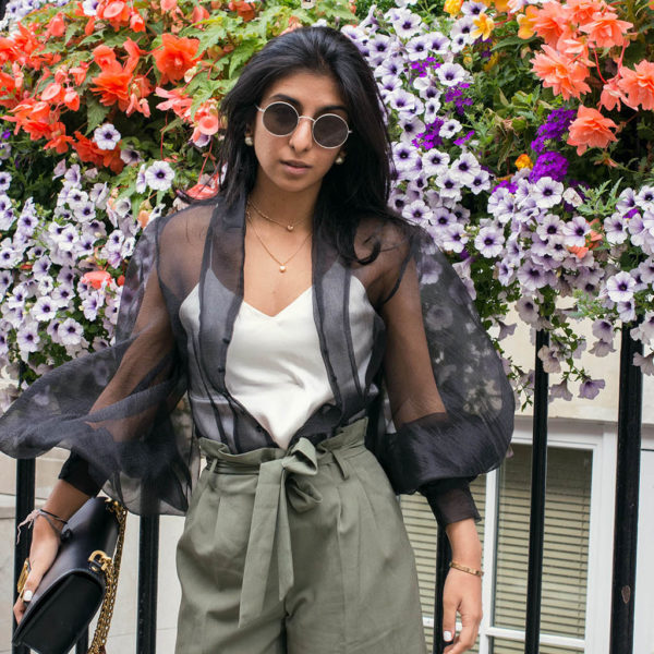 Fashion blogger Shloka Narang of The Silk Sneaker showcases how to wear a sheer top