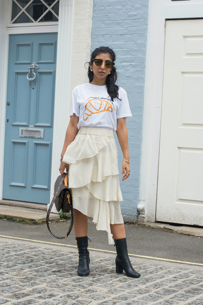 Fashion Blogger Shloka Narang of The Silk Sneaker showcases how to wear her new favourite Ganni slogan tee