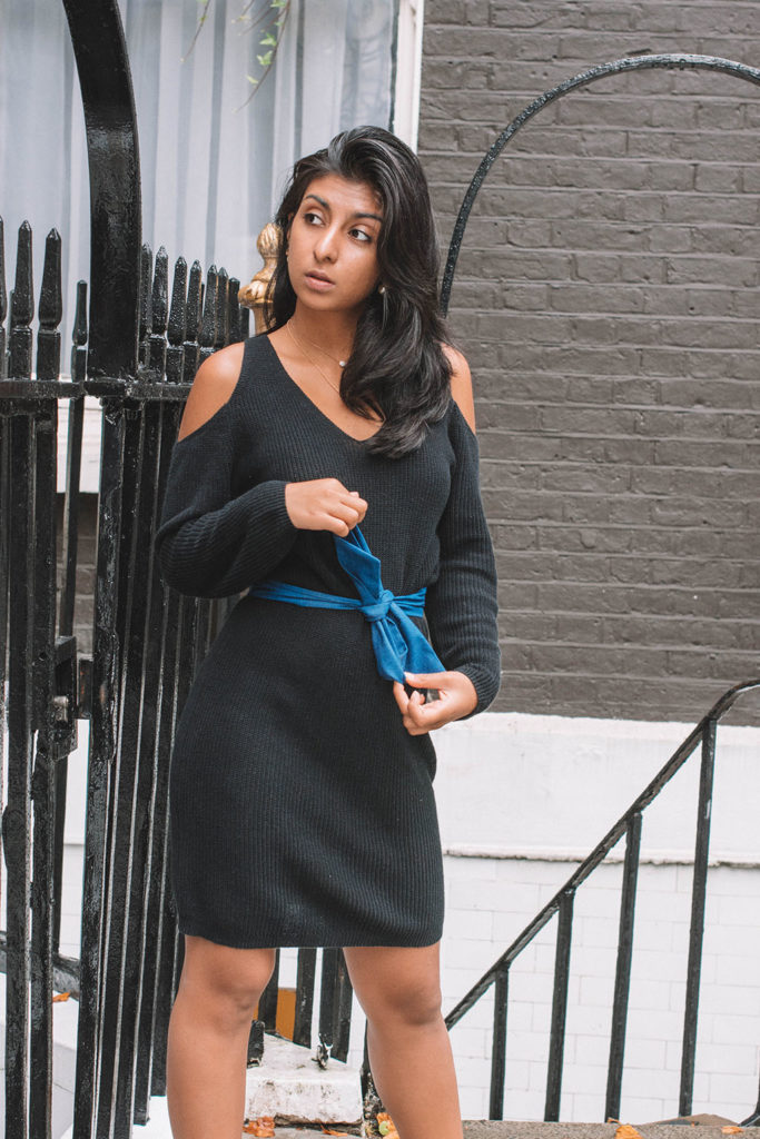 Fashion blogger Shloka Narang of The Silk Sneaker shares how to refresh your sweater dress for the perfect sweater dress outfit this autumn