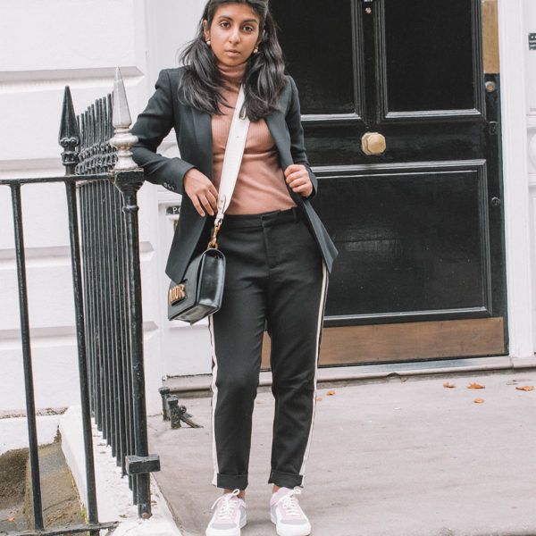 Fashion blogger Shloka Narang of The Silk Sneaker creates a fashionable weekend outfit with your favourite black blazer