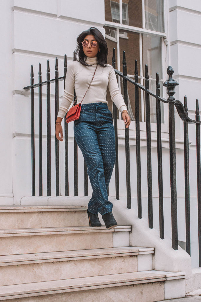 Fashion blogger Shloka Narang of The Silk Sneaker creates a gorgeous outfit to elevate a jeans and sweater combo for everyday!