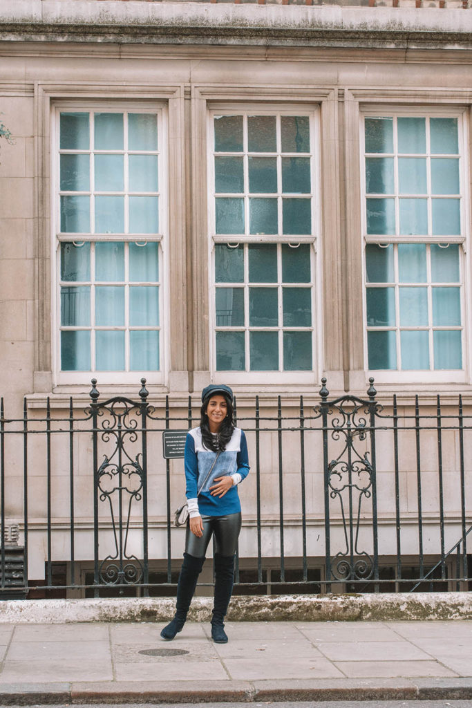Fashion blogger Shloka Narang of The Silk Sneaker showcases how to style leather pants in an outfit with Topshop and Rag & Bone