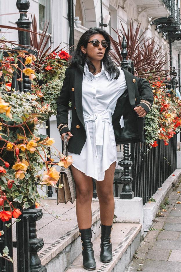 Fashion blogger Shloka Narang of The Silk sneaker showcases how to style a  shirt dress for e0e93438d