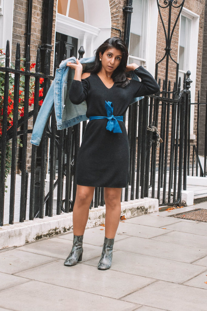 Fashion blogger Shloka Narang of The Silk Sneaker shares how to refresh  your sweater dress for 142518f8a