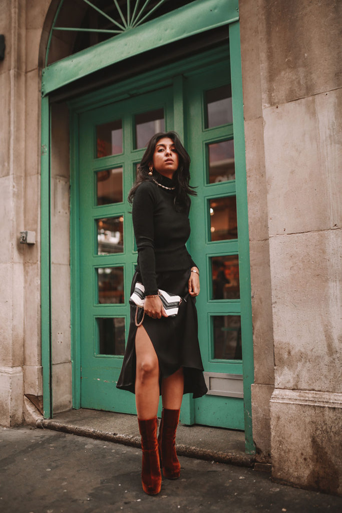 f858e8f61 Luxury fashion blogger Shloka Narang shares how to style a silk slip midi  skirt for the